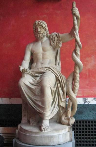 Thần Asclepius chịu trách nhiệm về y thuật và chữa bệnh